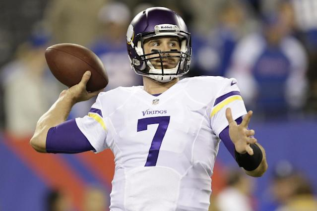 Minnesota Vikings quarterback Christian Ponder (7) throws a pass before an NFL football game against the New York Giants Monday, Oct. 21, 2013 in East Rutherford, N.J. (AP Photo/Julio Cortez)