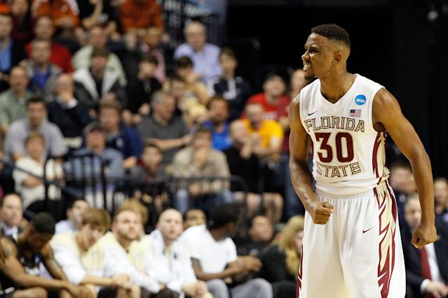 NASHVILLE, TN - MARCH 16: Ian Miller #30 of the Florida State Seminoles celebrates after a point against the St. Bonaventure Bonnies during the second round of the 2012 NCAA Men's Basketball Tournament at Bridgestone Arena on March 16, 2012 in Nashville, Tennessee. (Photo by Kevin C. Cox/Getty Images)