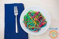 """<p>You won't want to put any tomato sauce on these pretty noodles.</p><p>Get the recipe from <a href=""""http://kidsactivitiesblog.com/66782/easy-rainbow-pasta"""" rel=""""nofollow noopener"""" target=""""_blank"""" data-ylk=""""slk:Kids Activities Blog"""" class=""""link rapid-noclick-resp"""">Kids Activities Blog</a>.</p>"""