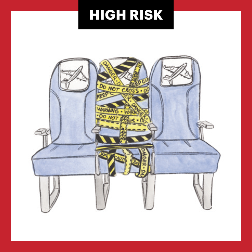 <p>The longer you're in a contained space with infectious particles, the likelier it is you'll inhale them. If you have to fly, keep it short (a four-hour flight is about twice as risky as a two-hour one), use a carrier that blocks middle seats, and sit at the window.</p>