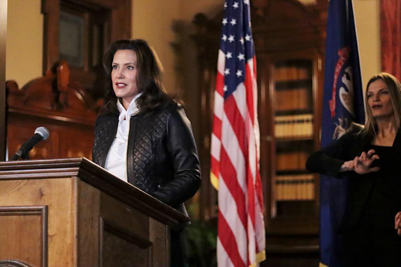 Gretchen Whitmer hit out at Donald Trump as she denounced foiled kidnap plot against her. (AP)