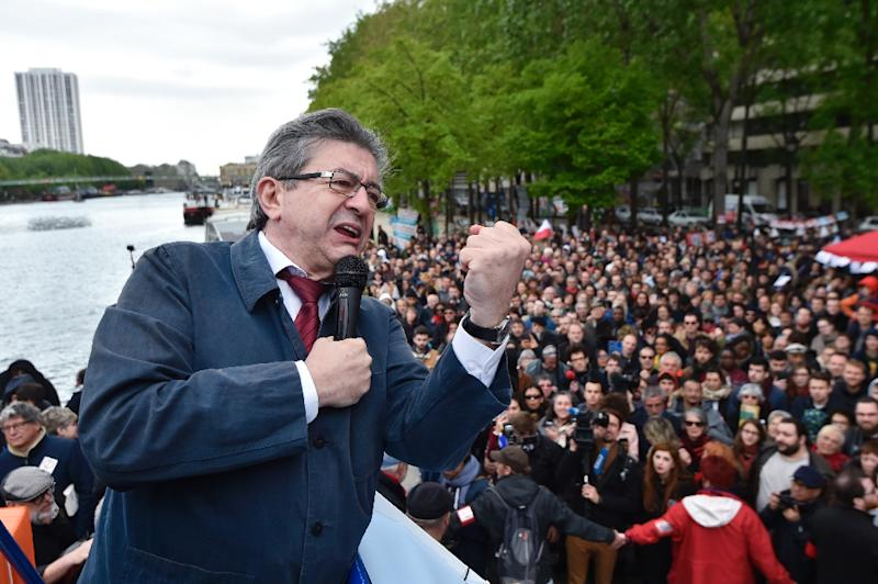 Jean-Luc Melenchon's calls for a fairer distribution of wealth and defence of the working class has struck a chord in Saint-Etienne  (AFP Photo/ALAIN JOCARD)