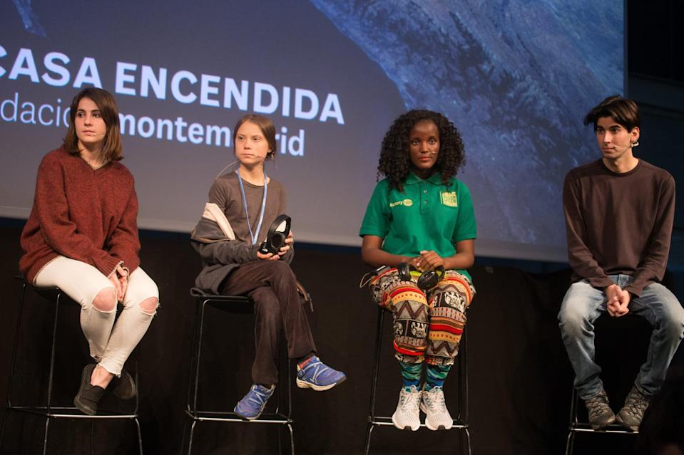 MADRID, SPAIN - 2019/12/06: From left to right, Shari Crepi (Fridays for Future Spain), Greta Thunberg (Fridays for Future Sweden), Vanessa Nakate (Fridays for Future Uganda) and Alejandro Martinez (Fridays for Future International Spain) attend a press conference.Press conference of the Swedish activist of Fridays for Future, climate change, Greta Thunberg after participating in the COP25 in Madrid before the climate change protest. (Photo by Lito Lizana/SOPA Images/LightRocket via Getty Images)