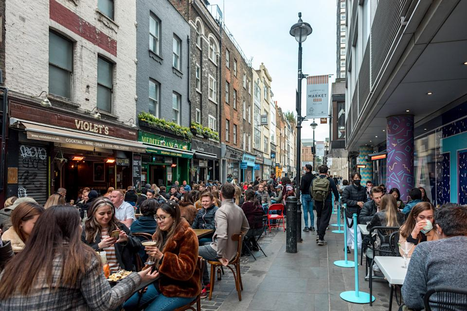 A street in Soho, London, with both sides packed with diners eating out as restaurants re-open after the COVID lockdown measures imposed by the UK government. (Photo by Belinda Jiao / SOPA Images/Sipa USA)