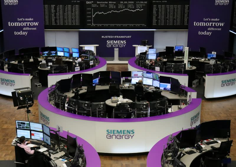 Equities edge higher, dollar gains on last day of choppy quarter