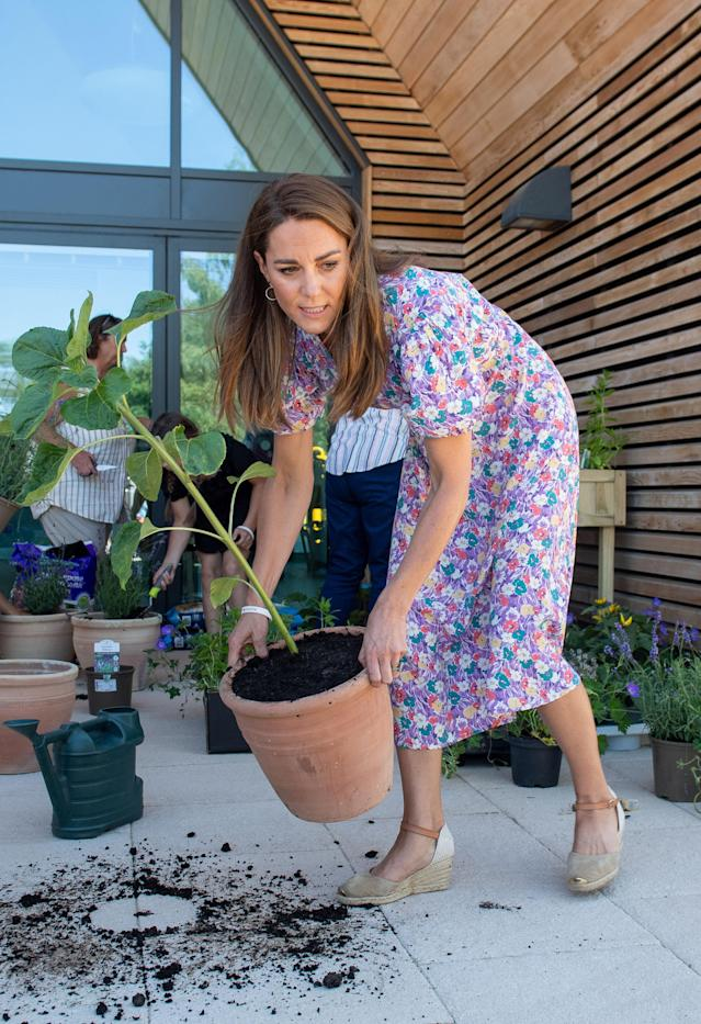 The duchess repotted a sunflower she brought in memory of Fraser Delf. (PA Images)