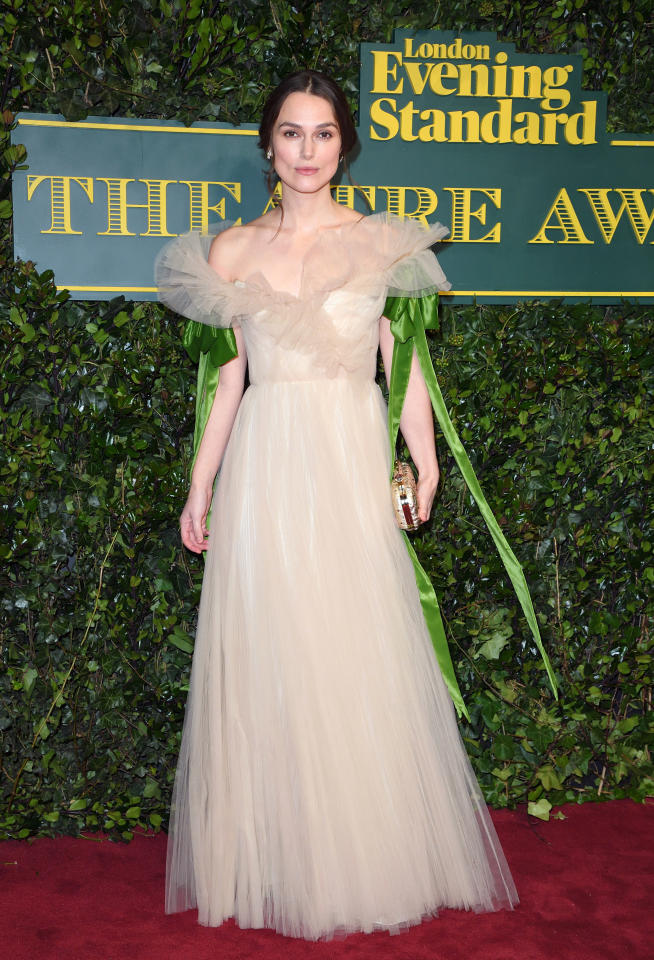 <p>Keira was ethereal in a tulle Valentino gown with green ribbon detailing. <i>[Photo: Getty]</i> </p>