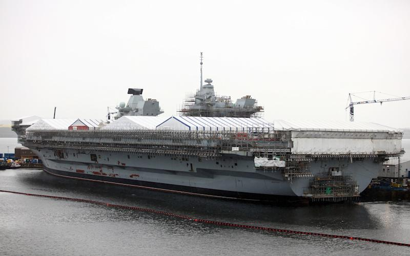 British Royal Navy's new HMS Queen Elizabeth aircraft carrier, manufactured by the Aircraft Carrier Alliance, a joint operation between BAE Systems, Thales SA, Babcock International Group Plc and the Ministry of Defence (MOD), at Babcock shipyard in Rosyth, U.K., on Thursday, May 19, 2016