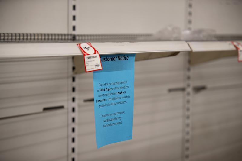 Empty toilet paper shelves at Coles supermarket in Adelaide, Friday, March 13, 2020. Source: AAP Image