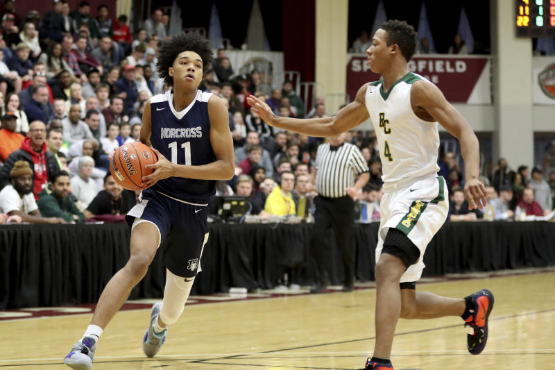 Norcross' Brandon Boston #11 in action against Roselle Catholic during a high school basketball game at the Hoophall Classic, Saturday, January 19, 2019, in Springfield, MA. (AP Photo/Gregory Payan)