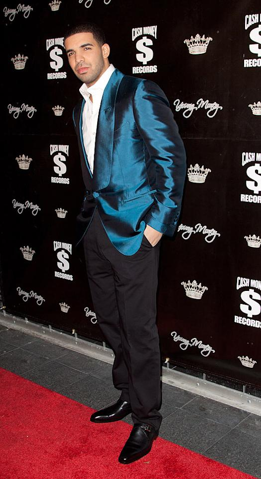 """Drake donned a snazzy Tom Ford sharkskin blazer for Lil Wayne's soiree. """"I had to suit up for the boy!"""" he laughed on the red carpet. """"I'm here to have fun and celebrate a great, phenomenal, legendary man. That's why I had to get dressed up."""" John Parra/<a href=""""http://www.wireimage.com"""" target=""""new"""">WireImage.com</a> - November 7, 2010"""