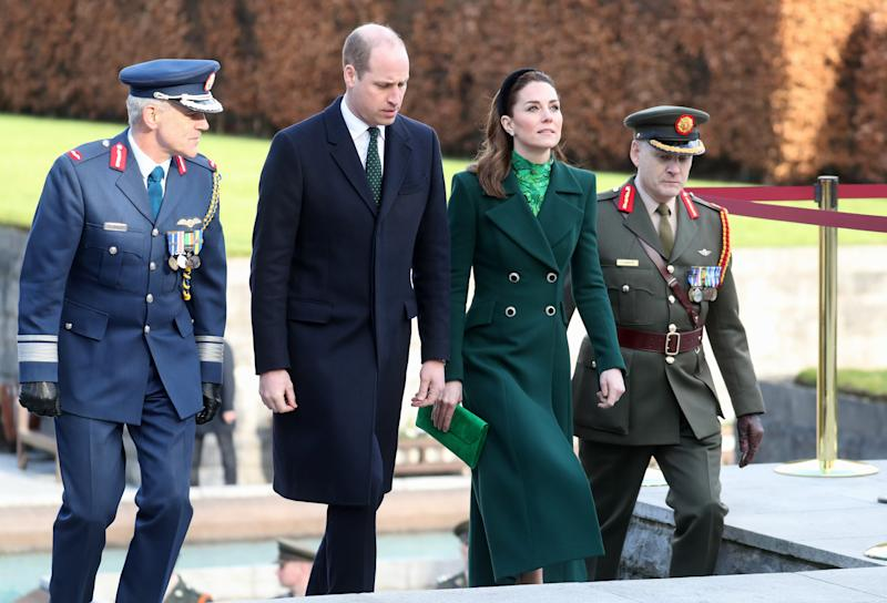 DUBLIN, IRELAND - MARCH 03: Prince William, Duke of Cambridge and Catherine, Duchess of Cambridge attend a commemorative wreath laying ceremony in the Garden of Remembrance at Aras an Uachtarain during day one of their visit to Ireland on March 03, 2020 in Dublin, Ireland. The Garden is dedicated to those who gave their lives for Irish independence. (Photo by Chris Jackson - Pool/Getty Images)