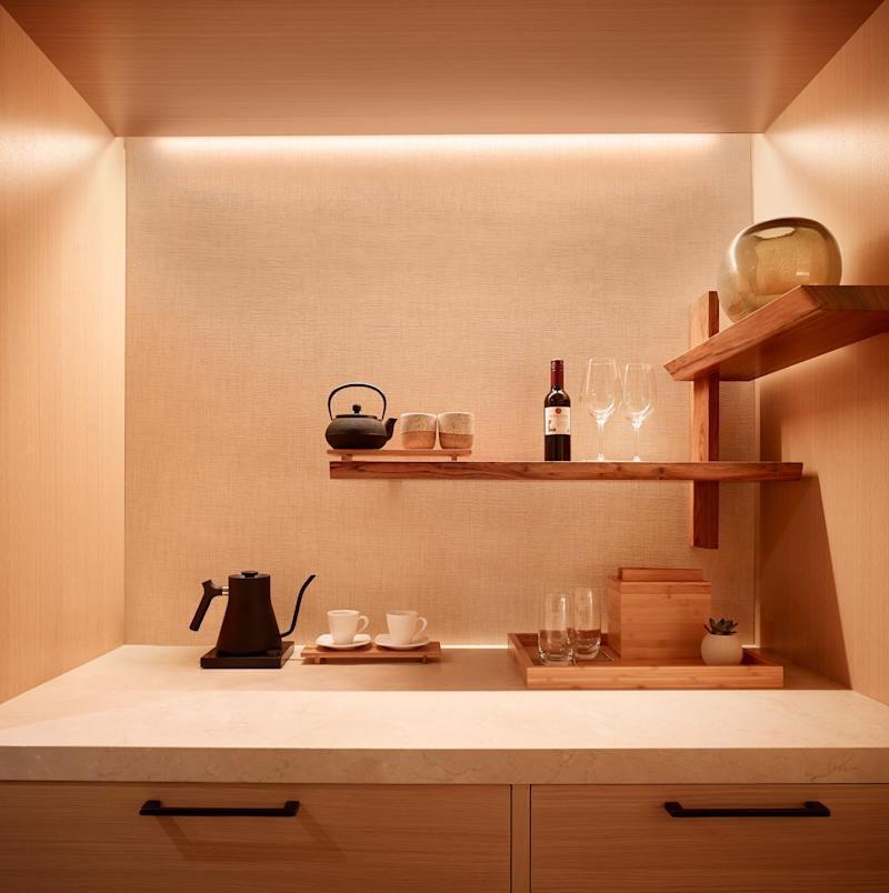 In Palo Alto, the room's minibar is an example of understated luxury—one of the tenets of the brand.