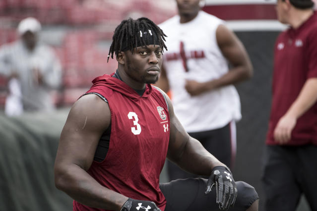 South Carolina defensive lineman Javon Kinlaw (3) warms up before an NCAA college football game against Clemson Saturday, Nov. 30, 2019, in Columbia, S.C. Clemson defeated South Carolina 38-3. (AP Photo/Sean Rayford)