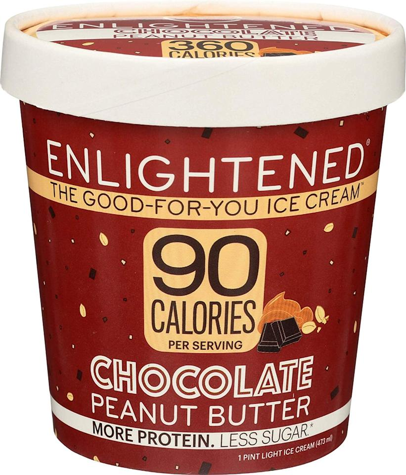 """<p>All we can say about this <a href=""""https://www.popsugar.com/buy/Enlightened%20Chocolate%20Peanut%20Butter%20Ice%20Cream%20Pint-473736?p_name=Enlightened%20Chocolate%20Peanut%20Butter%20Ice%20Cream%20Pint&retailer=amazon.com&price=4&evar1=fit%3Auk&evar9=46436533&evar98=https%3A%2F%2Fwww.popsugar.com%2Ffitness%2Fphoto-gallery%2F46436533%2Fimage%2F46436537%2FEnlightened-Chocolate-Peanut-Butter-Ice-Cream-Pint&list1=shopping%2Camazon%2Cdessert%2Chealthy%20desserts&prop13=api&pdata=1"""" rel=""""nofollow"""" data-shoppable-link=""""1"""" target=""""_blank"""" class=""""ga-track"""" data-ga-category=""""Related"""" data-ga-label=""""https://www.amazon.com/Enlightened-Protein-Low-Sugar-High-Fiber-Low-Chocolate/dp/B079V3XWTK/ref=sr_1_44?crid=3VR3H2QCGD7DQ&amp;fpw=fresh&amp;keywords=low-carb+ice+cream&amp;qid=1564506377&amp;s=gateway&amp;sprefix=low-carb+ice+c%2Caps%2C177&amp;sr=8-44"""" data-ga-action=""""In-Line Links"""">Enlightened Chocolate Peanut Butter Ice Cream Pint</a> ($4) is yum! It has a mere 3 grams of net carbs per serving.</p>"""