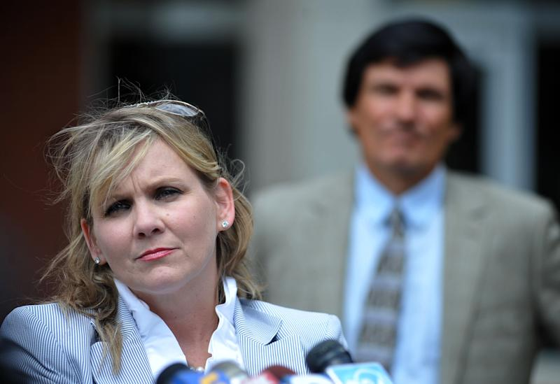 Christi McCoy, attorney for Paul Kevin Curtis, speaks outside of federal court in Oxford, Miss. on Monday, April 22, 2013. Paul Kevin Curtis is in custody under the suspicion of sending letters that tested positive for ricin to U.S. President Barack Obama and U.S. Sen. Roger Wicker, R-Miss. (AP Photo/Oxford Eagle, Bruce Newman)NO SALES