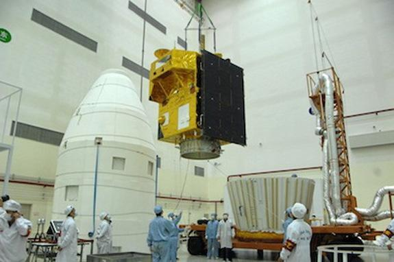 The China-Brazilian CBERS 3 Earth observation satellite is prepared for its ill-fated launch atop a Chinese Long March 4C rocket in December 2013.