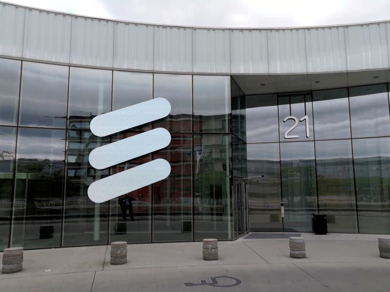 FILE PHOTO: The Ericsson logo is seen at the company's headquarters in Stockholm
