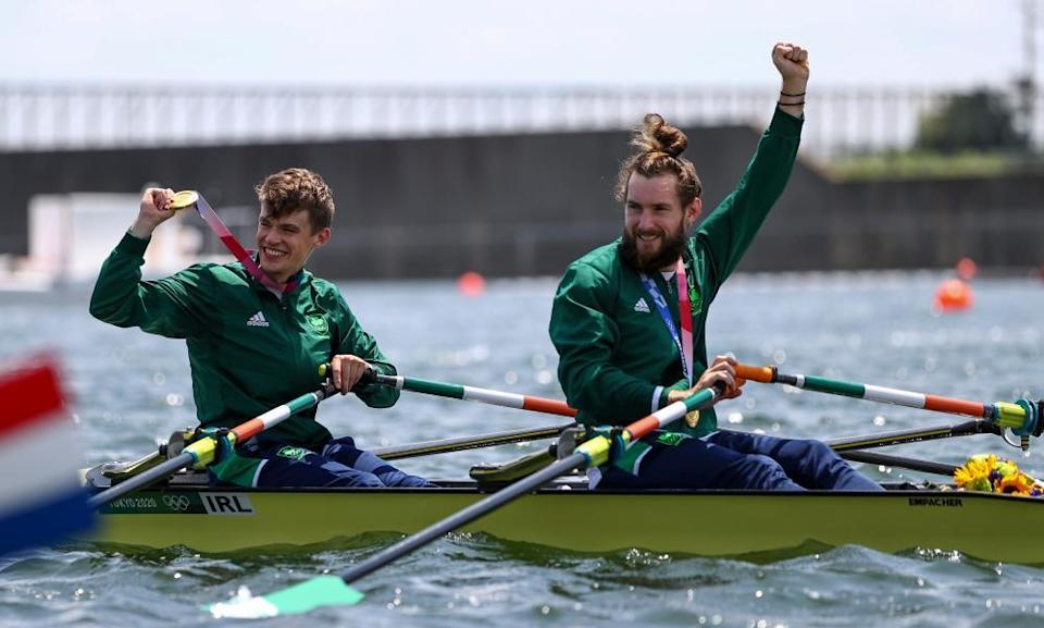 We will, though. Olympic gold-medal-winning athletes Fintan McCarthy and Paul O'Donovan.