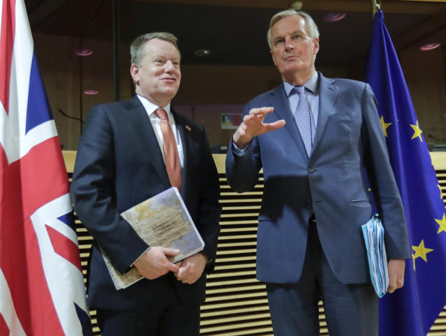 EU chief Brexit negotiator Michel Barnier (R) and leader of the UK negotiating team David Frost (L) begin five days of talks on Monday. Photo: Olivier Hoslet/Pool Photo via AP