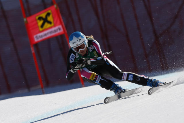 SCHLADMING, AUSTRIA - MARCH 14: (FRANCE OUT) Julia Mancuso of the USA competes during the Audi FIS Alpine Ski World Cup Women's Downhill on March 14, 2012 in Schladming, Austria. (Photo by Alexis Boichard/Agence Zoom/Getty Images)