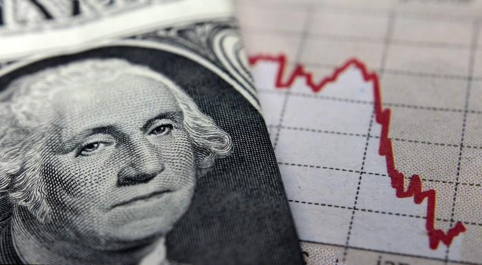 A close-up of George Washington on the one dollar bill next to a plunging chart.
