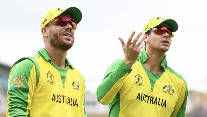 David Warner and Steve Smith confused at a dismissal during the ODI World Cup.
