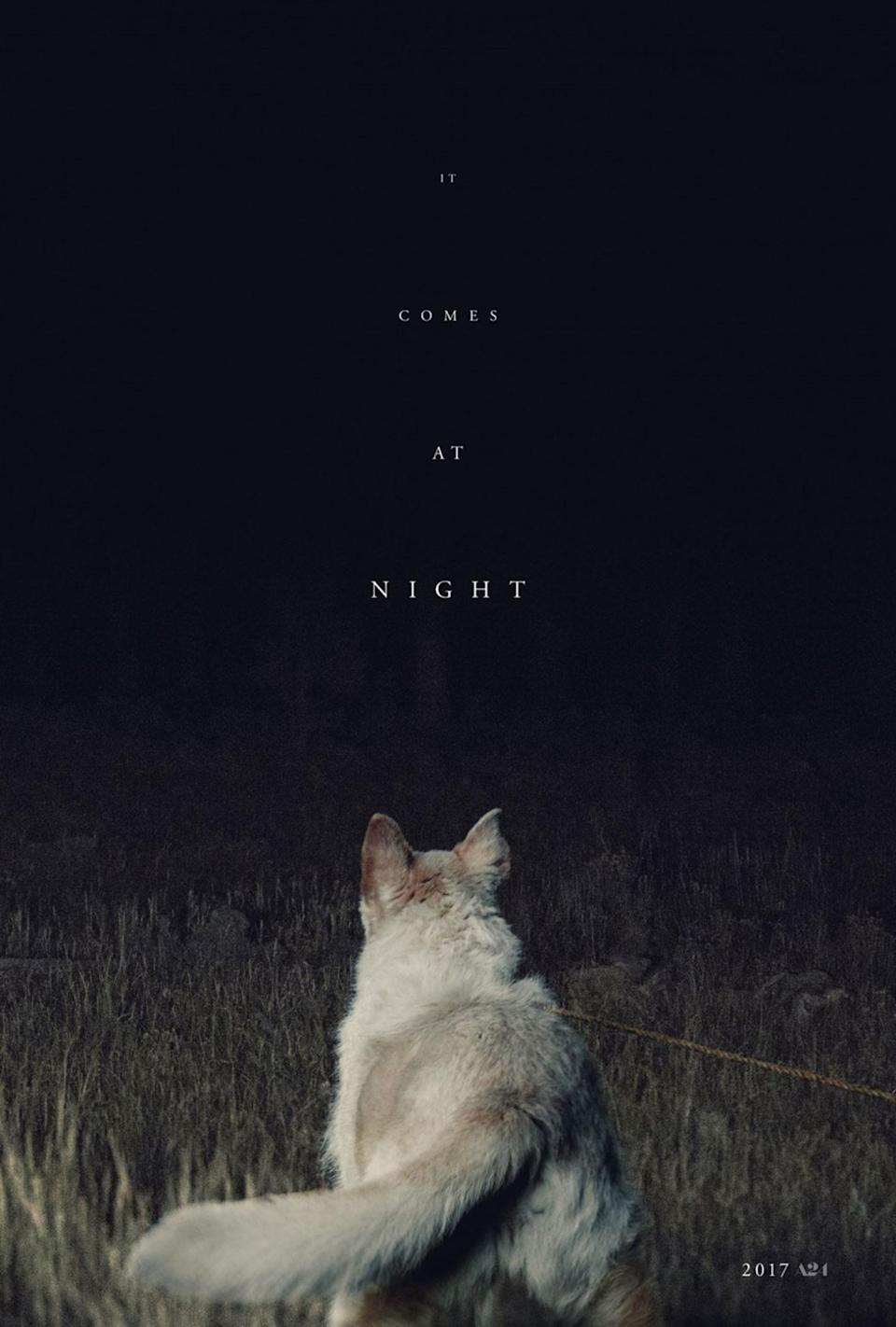 <p>What comes at night, exactly? That's all part of the appeal of this tremendously sparse horror one-sheet – whatever is lurking in that night certainly has the dog spooked, therefore you should probably be on edge too. Extra points too for the simple title font and the increasingly unreadable type – if the poster is drawing you in closer, it's doing its job. </p>