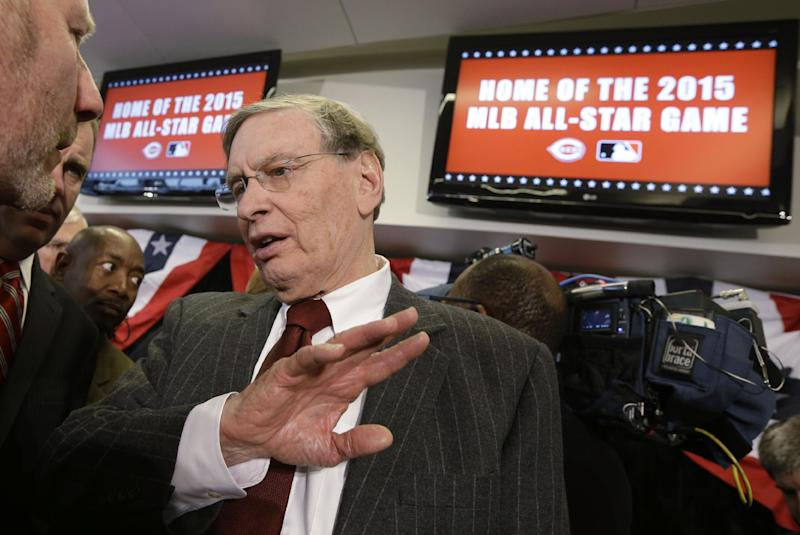 Major League Baseball commissioner Bud Selig speaks with reporters after announcing the Cincinnati Reds will host the 2015 All-Star Game during a news conference, Wednesday, Jan. 23, 2013, at Great American Ballpark in Cincinnati. (AP Photo/Al Behrman)