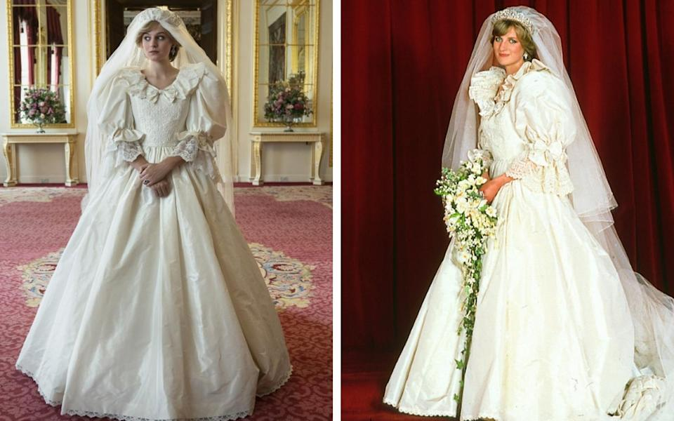 The Crown team have meticulously recreated Diana's famous wedding gown - Netflix/ Getty