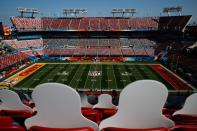 Cut-out photographs of fans fill some of the seats for Super Bowl LV in Tampa