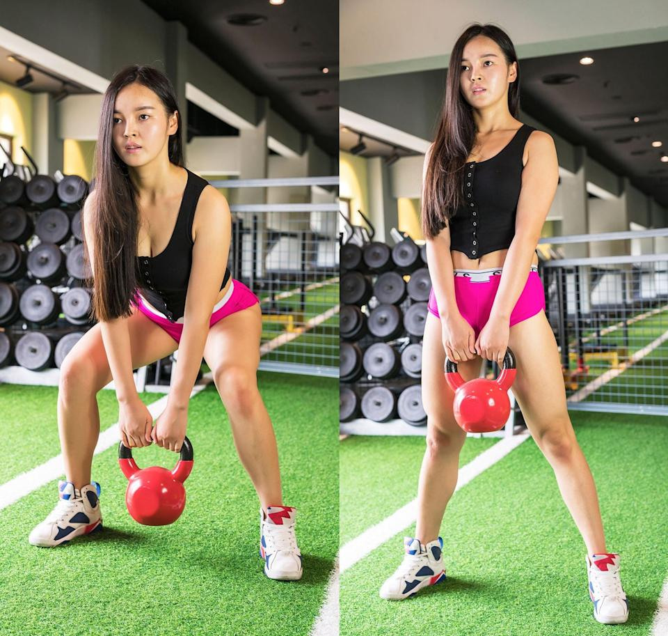 <p>The deadlift is one of the best butt exercises around, and this kettlebell variation is one way to do it. Hardstyle Kettlebell-certified trainer Lynn Montoya, ACE, recommends using a heavy weight to really feel the burn.</p> <ul> <li>Stand with your feet shoulder-width apart, and place a kettlebell on the ground in front of your feet.</li> <li>Hinge your hips backward while bracing your core and keeping your chest up. Lower into a squat.</li> <li>At the bottom of your squat, grab the kettlebell with both hands by the handle.</li> <li>Slowly stand, keeping the kettlebell close to your body.</li> <li>Squeeze your glutes for a few seconds at the top.</li> <li>Repeat the steps to sink back into a squat and place the dumbbell back on the ground. This counts as one rep.</li> </ul>