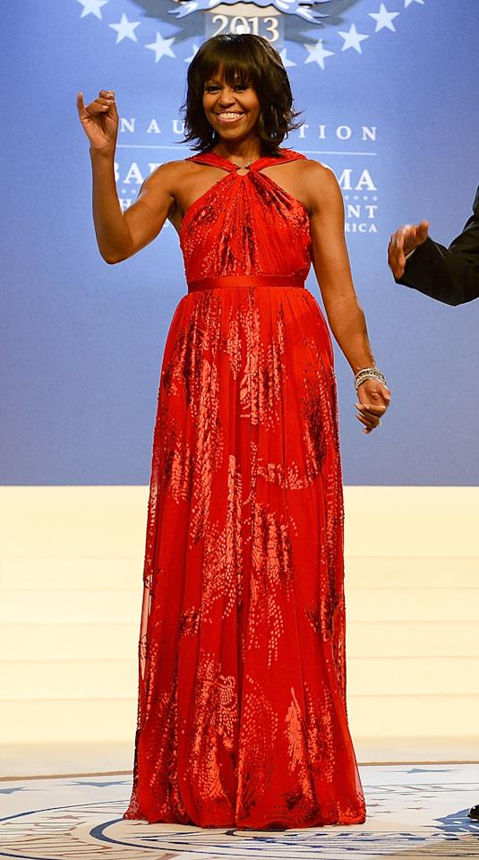 WASHINGTON, DC - JANUARY 21: U.S. First lady Michelle Obama arrives for The Inaugural Ball at the Walter E. Washington Convention Center on January 21, 2013 in Washington, United States. (Photo by Michael Kovac/WireImage)