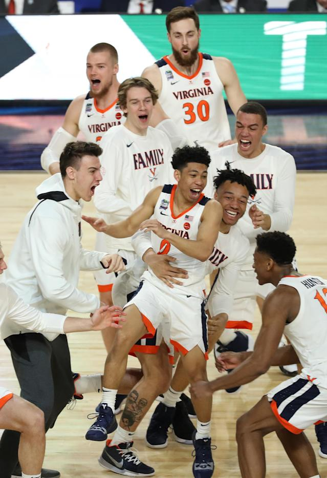 The Virginia Cavaliers celebrates after defeating the Texas Tech Red Raiders in the 2019 NCAA men's Final Four National Championship game at U.S. Bank Stadium on April 08, 2019 in Minneapolis, Minnesota. (Photo by Matt Marriott/NCAA Photos via Getty Images)