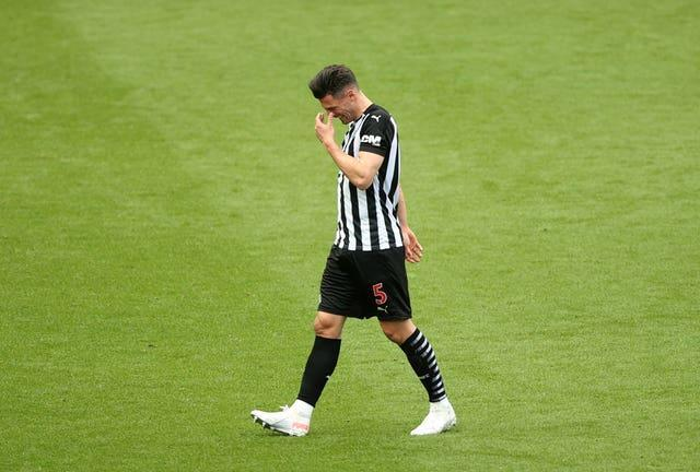 Fabian Schar was shown a late red card at St James' Park