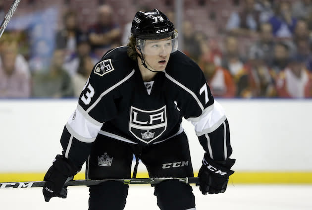 "<a class=""link rapid-noclick-resp"" href=""/nhl/teams/los/"" data-ylk=""slk:Los Angeles Kings"">Los Angeles Kings</a> center <a class=""link rapid-noclick-resp"" href=""/nhl/players/5020/"" data-ylk=""slk:Tyler Toffoli"">Tyler Toffoli</a> (73) stands on the ice during the first period of an NHL hockey game against the Florida Panthers, Thursday, Feb. 9, 2017, in Sunrise, Fla. (AP Photo/Lynne Sladky)"