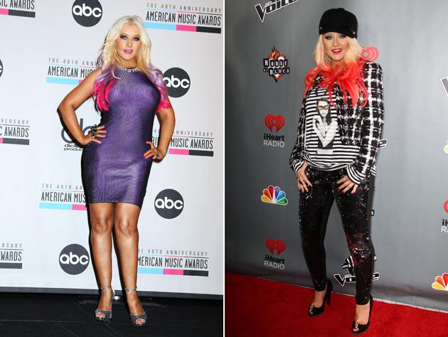 Worst dressed celebrities 2012: Christina Aguilera has always had quite a wild sense of style, but 2012 saw some serious blunders. This dodgy purple body con wasn't the most flattering of outfits, and don't even get us started on the red dip dyed hair.