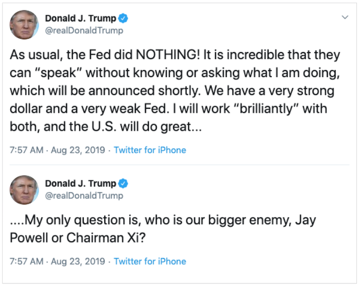 Trump Says Fed Chair Jay Powell Is Enemy Of The People