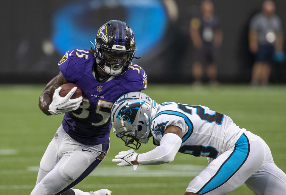 Gus Edwards is the presumed starting running back in Baltimore. (Photo by Chris Keane/Getty Images)