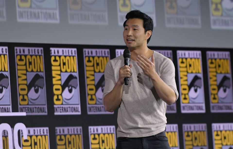 <p>File image: Simu Liu speaks on stage for the Marvel panel in Hall H of the Convention Center during Comic Con in San Diego in 2019</p> (Getty Images)