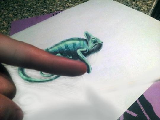 """<b>Chameleon:</b> The depth of each work """"can only been seen from a certain angle,"""" he says. """"I also experimented with light and with the correct light it appeared the drawing came off the paper."""" <br> <br> <a href=""""http://www.jjkairbrush.nl/home/"""" rel=""""nofollow noopener"""" target=""""_blank"""" data-ylk=""""slk:(Courtesy of Ramon Bruin)"""" class=""""link rapid-noclick-resp"""">(Courtesy of Ramon Bruin)</a>"""