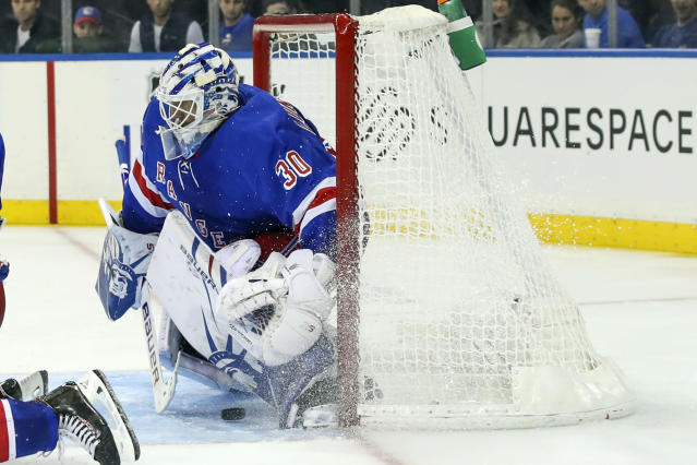 New York Rangers goaltender Henrik Lundqvist (30) is unable to stop a shot for a goal by Edmonton Oilers center Connor McDavid during the third period of an NHL hockey game, Saturday, Oct. 12, 2019, at Madison Square Garden in New York. The Oilers won 4-1. (AP Photo/Mary Altaffer)