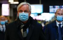 FILE PHOTO: European Union's Brexit negotiator Michel Barnier arrives at Brussels-South railway station, in Brussels