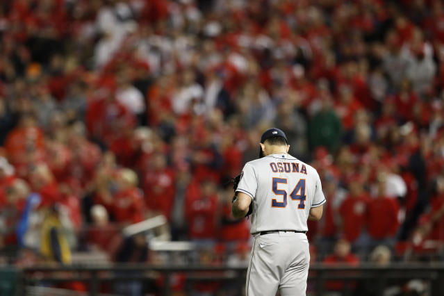 Roberto Osuna was booed by Nationals fans as he came into World Series Game 3. (Photo by Rob Tringali/MLB Photos via Getty Images)
