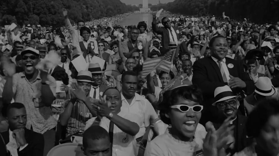 """A crowd listens to Martin Luther King Jr. speak at the March on Washington in """"MLK/FBI."""""""