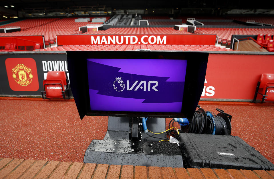 A VAR (Video assistant referee) monitor pitch side before the Premier League match at Old Trafford, Manchester. (Photo by Martin Rickett/PA Images via Getty Images)