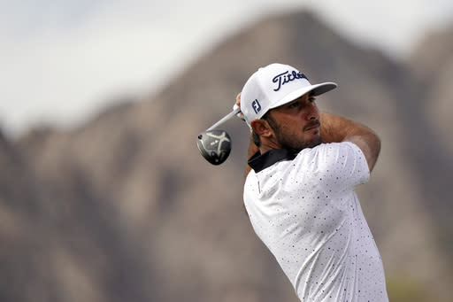 Max Homa hits from the first tee during the third round of The American Express golf tournament on the Pete Dye Stadium Course at PGA West Saturday, Jan. 23, 2021, in La Quinta, Calif. (AP Photo/Marcio Jose Sanchez)