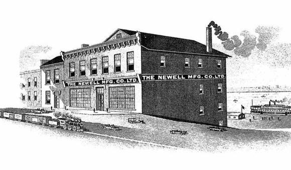 Pen-and-ink of Newell Manufacturing building, with old-fashioned steam railroad and steamboat in background.