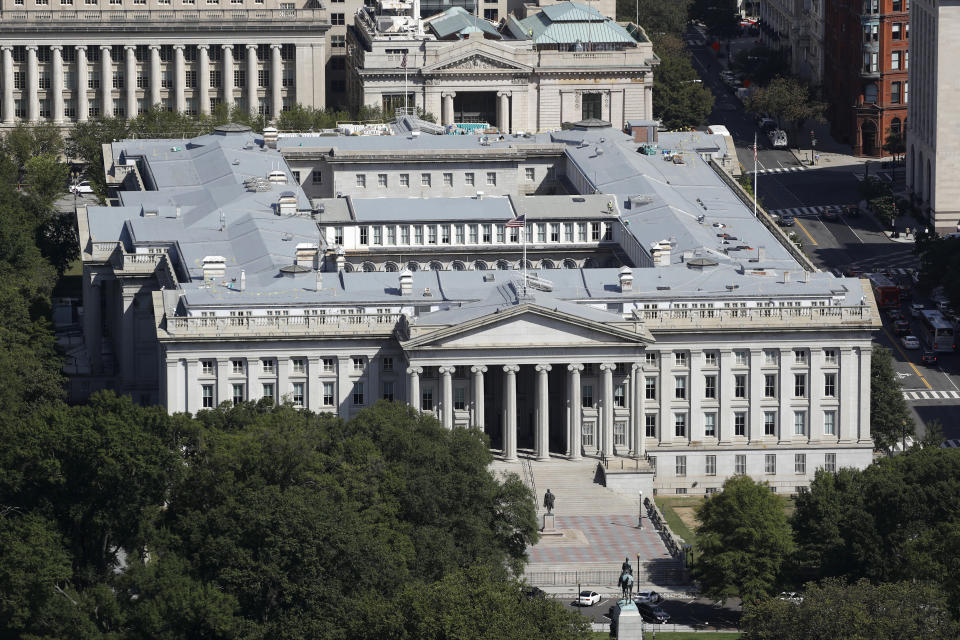 The U.S. Treasury Department building in Washington. (Patrick Semansky/AP)