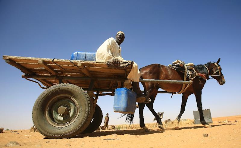 A Sudanese man sits on top of a wooden cart pulled by a horse inside the Zamzam camp for Internally Displaced People (IDP), North Darfur, on April 9, 2015 (AFP Photo/Ashraf Shazly)